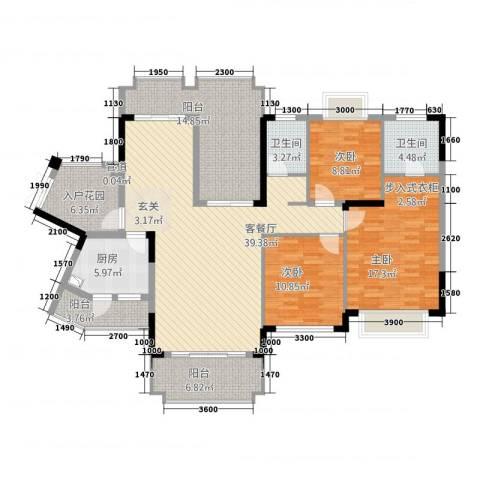 爱加西西里3室1厅2卫1厨121.88㎡户型图