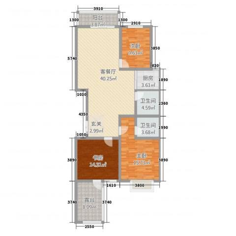 元氏龙湖湾3室1厅2卫1厨148.00㎡户型图