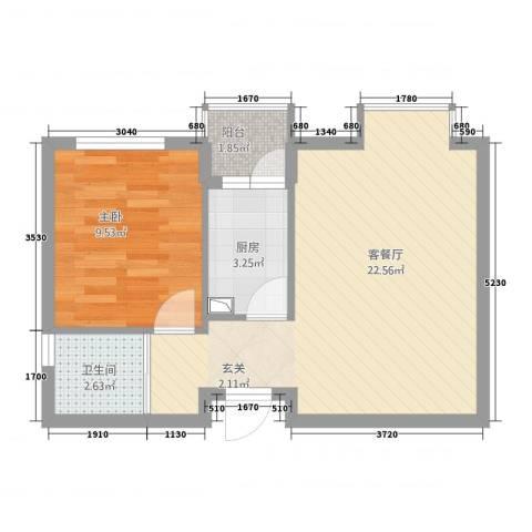 蓝澳岛1室1厅1卫1厨57.00㎡户型图