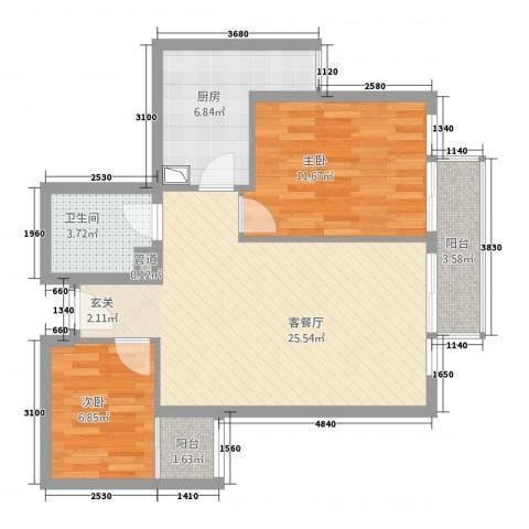蓝澳岛2室1厅1卫1厨86.00㎡户型图