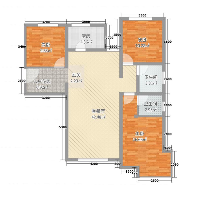 中博・孔雀蓝湾12.25㎡6、7、9、11#楼a户型3室2厅2卫1厨