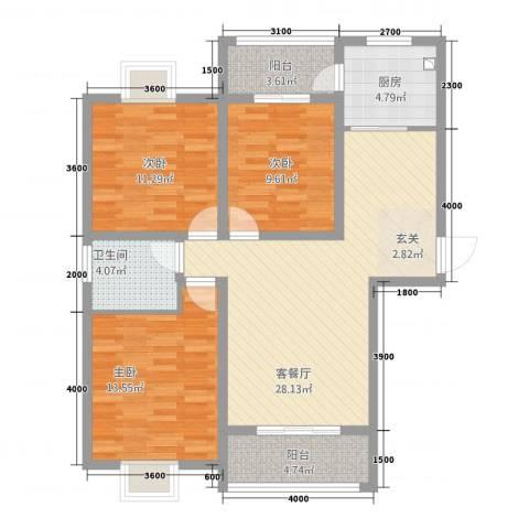 香槟国际3室1厅1卫1厨80.10㎡户型图