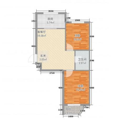 金湖水岸2室1厅1卫1厨74.00㎡户型图