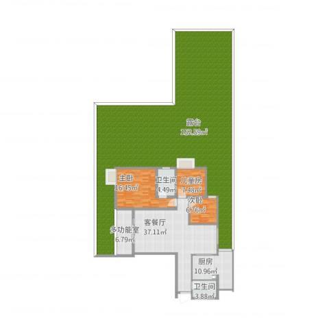 银城大厦3室1厅2卫1厨336.00㎡户型图