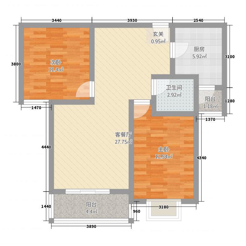 世好国际花园6.60㎡C2户型2室2厅1卫1厨