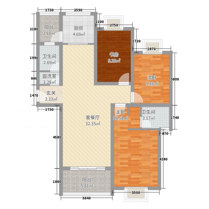 世好国际花园127.00㎡A1户型3室2厅2卫1厨