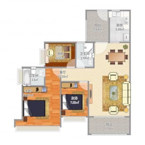 峰景湾3室1厅2卫1厨107.00㎡户型图