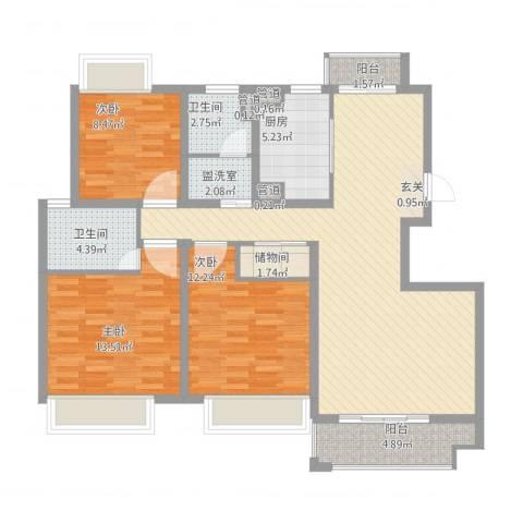 幸福壹号公馆3室1厅2卫1厨132.00㎡户型图