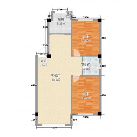 绿城.蓝天林海2室1厅1卫1厨84.00㎡户型图