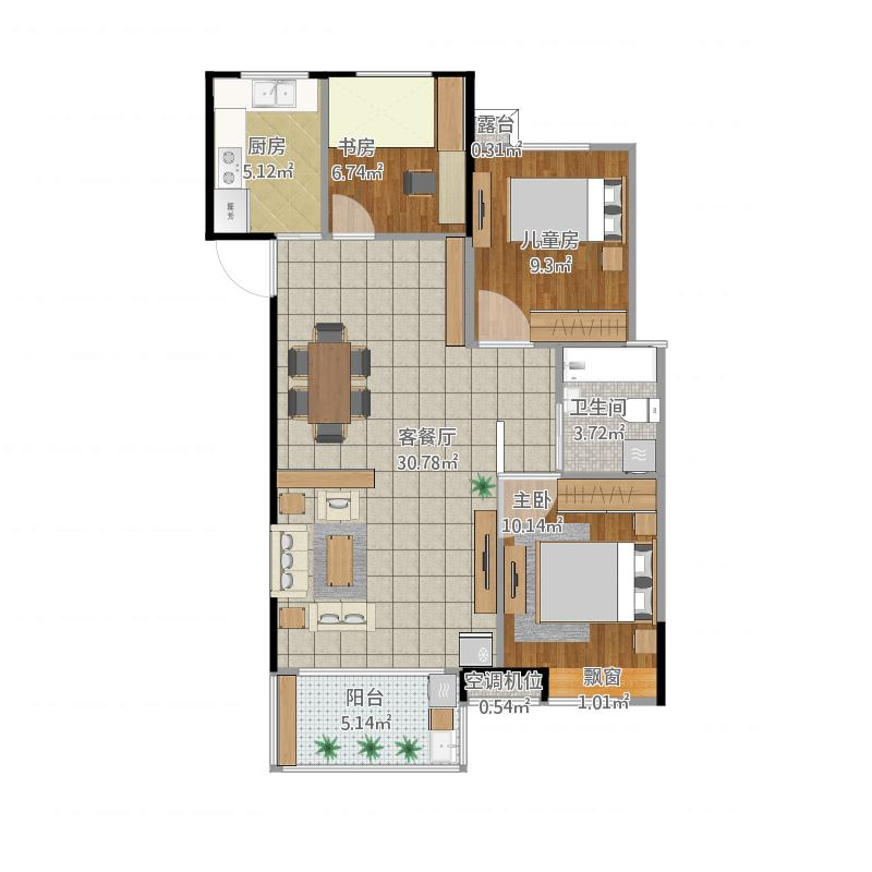 96.5三室两厅