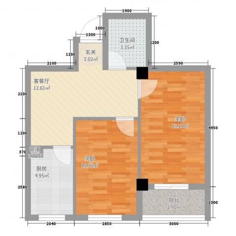 绿城.蓝天林海2室1厅1卫1厨61.00㎡户型图