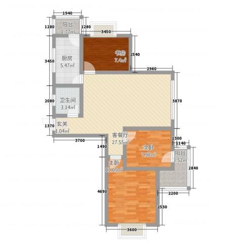 世好国际花园3室1厅1卫1厨69.90㎡户型图