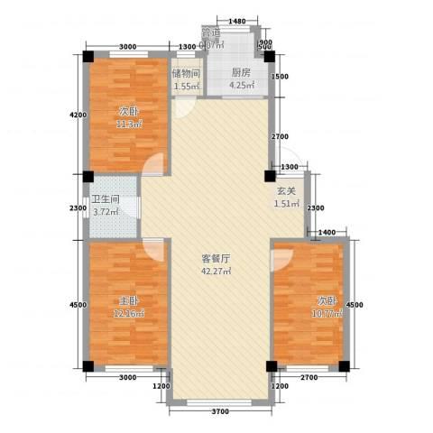 绿城.蓝天林海3室1厅1卫1厨111.00㎡户型图