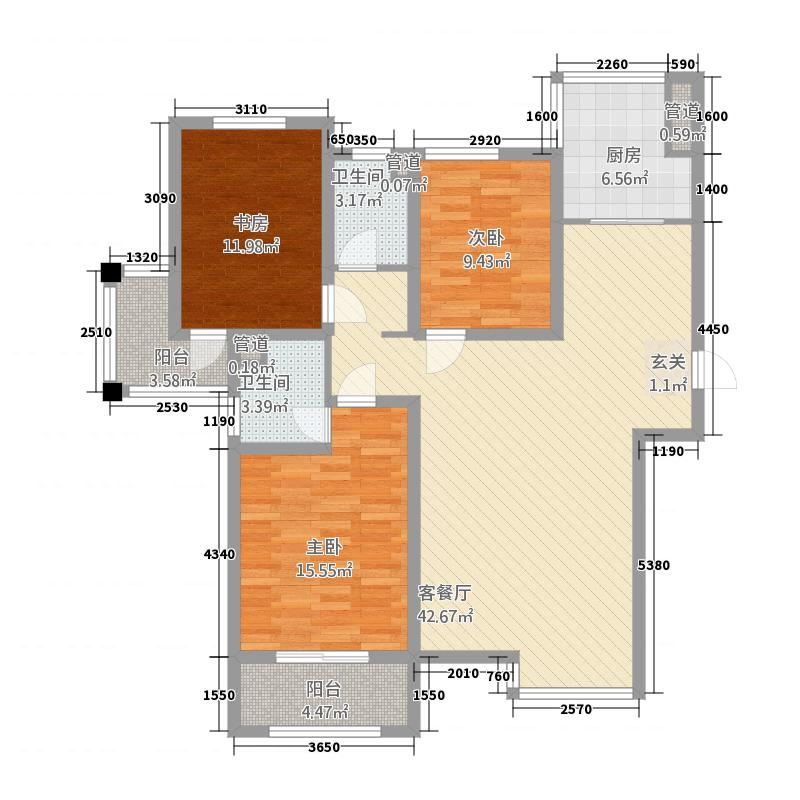 翠湖庄园146.00㎡C户型3室2厅2卫1厨
