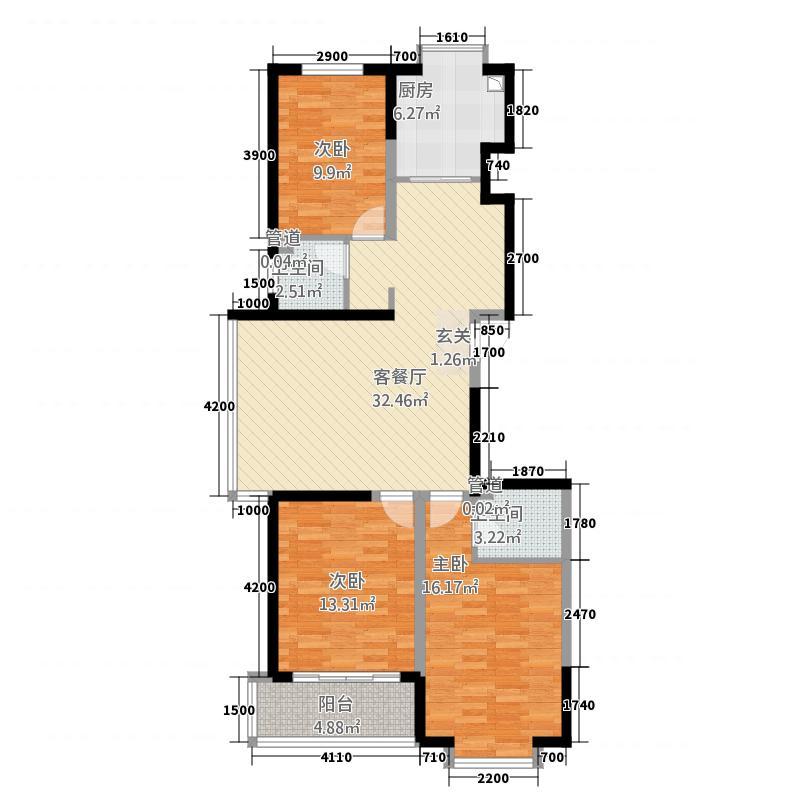 隆湾帝园116.31㎡六户型3室2厅2卫1厨