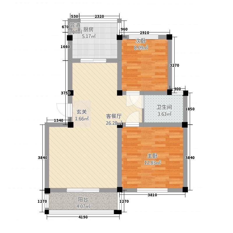 荣鑫花苑87.43㎡A户型2室2厅1卫1厨
