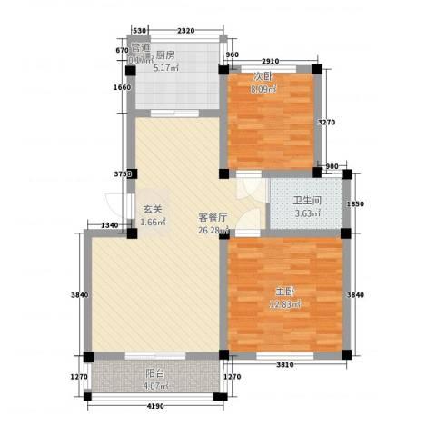 荣鑫花苑2室1厅1卫1厨87.00㎡户型图