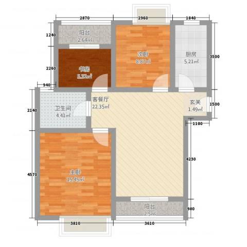 美林幸福里3室1厅1卫1厨98.00㎡户型图