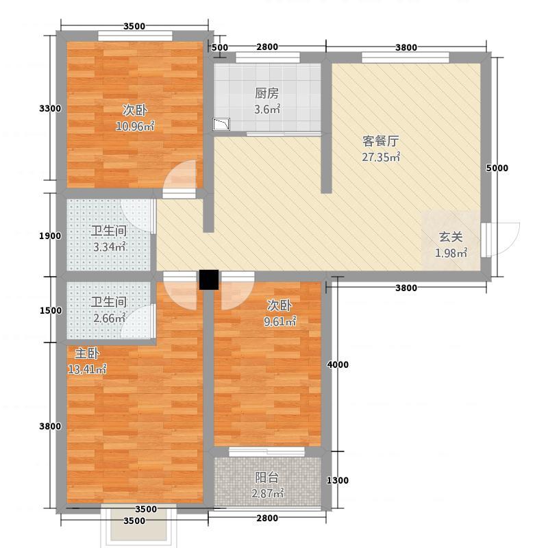观州壹品12.10㎡B户型3室2厅2卫1厨