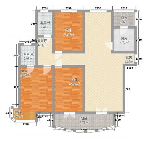 三角花园星城3室1厅2卫1厨149.00㎡户型图