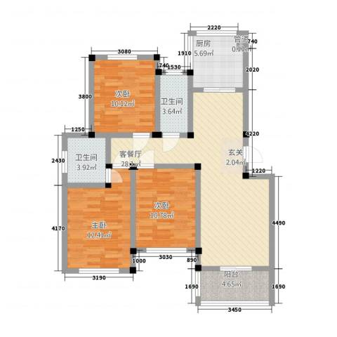 荣鑫花苑3室1厅2卫1厨117.00㎡户型图