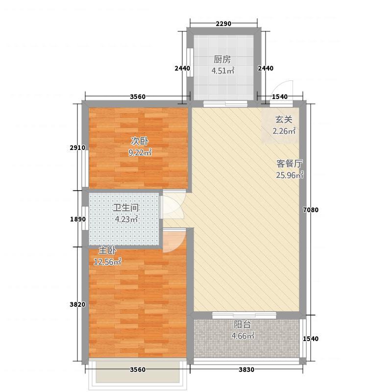学府街坊3621.62㎡360截图户型2室2厅1卫1厨