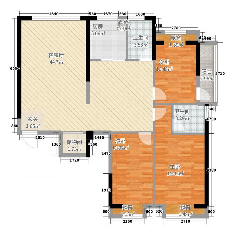 御龙首府1141.20㎡(1)户型3室2厅2卫1厨