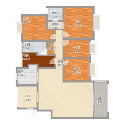 繁华世家5室1厅2卫1厨208.00㎡户型图