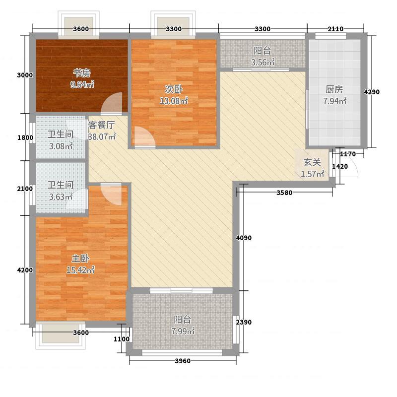 东城明珠127.16㎡E1户型3室2厅2卫1厨