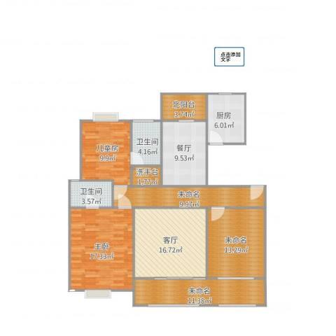 绿地悦城2室2厅2卫1厨146.00㎡户型图