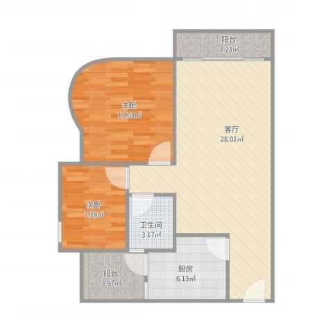 中珠新村—48栋7032室1厅1卫1厨88.00㎡户型图