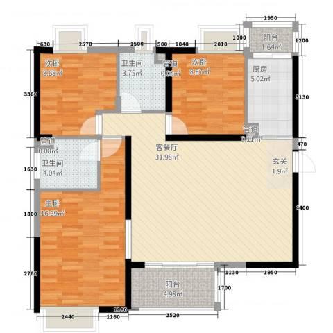 金水湾3室1厅2卫1厨97.73㎡户型图