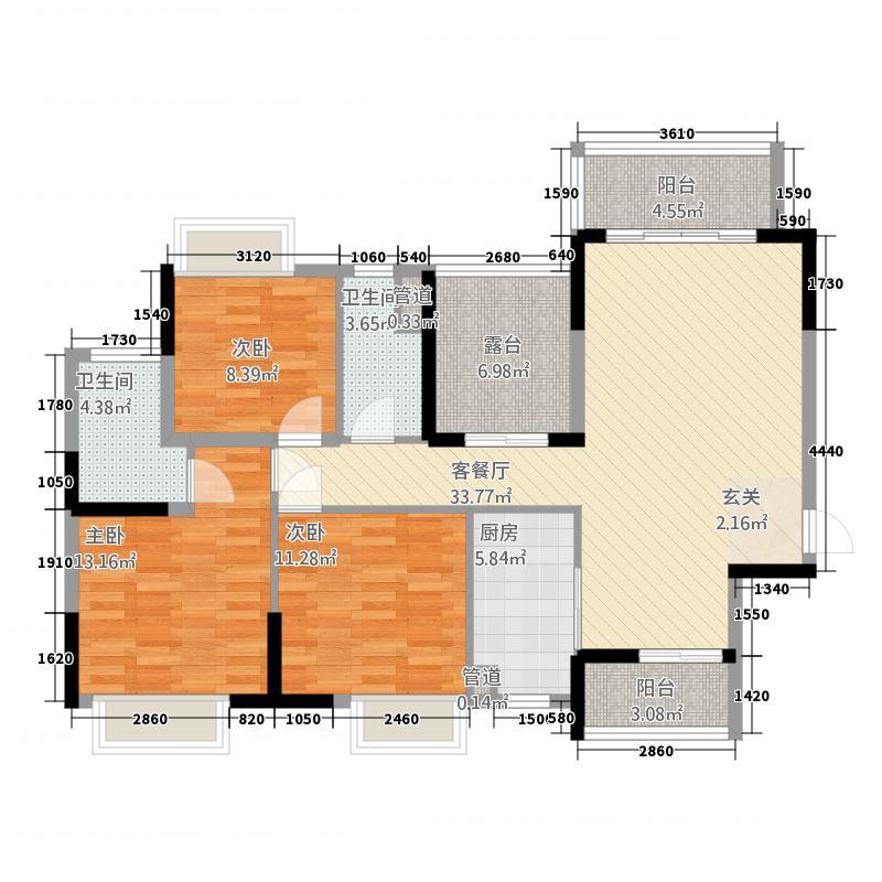 汇景城市山谷117.00㎡2栋2单元01户型4室2厅2卫1厨