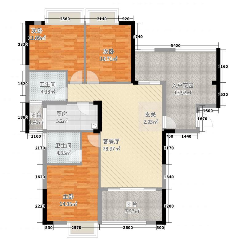 月亮湾三期133.30㎡C7户型3室2厅2卫