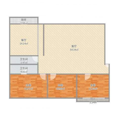御龙花园六区3室2厅2卫1厨157.00㎡户型图
