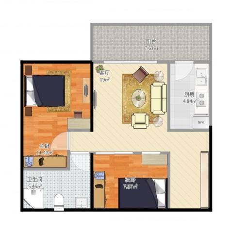 华远水木清华2室1厅1卫1厨76.00㎡户型图