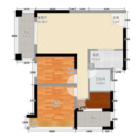 金水湾3室1厅1卫1厨83.35㎡户型图