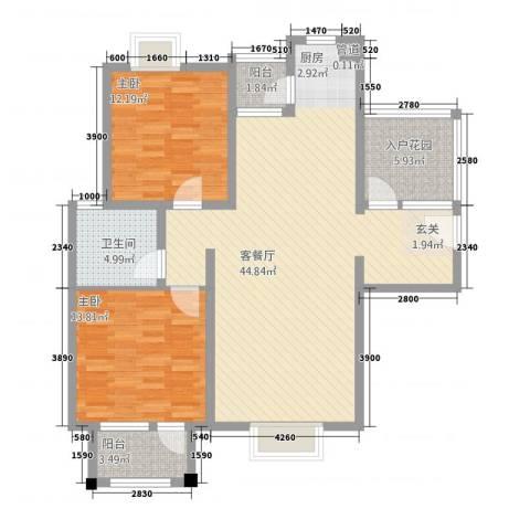 置地新唯花园2室1厅1卫0厨128.00㎡户型图