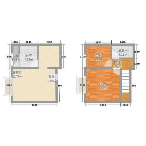 阳光曼哈顿2室1厅1卫1厨66.79㎡户型图