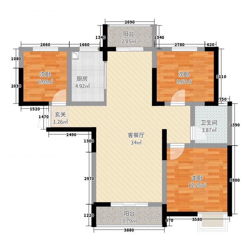 润辉・枫林湾112.40㎡D户型3室2厅1卫1厨