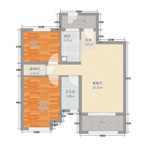 红旗新村2室1厅1卫1厨86.00㎡户型图