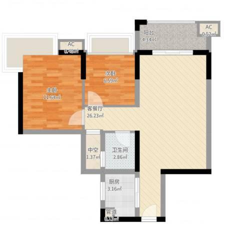 涛汇尚品2室1厅1卫1厨84.00㎡户型图