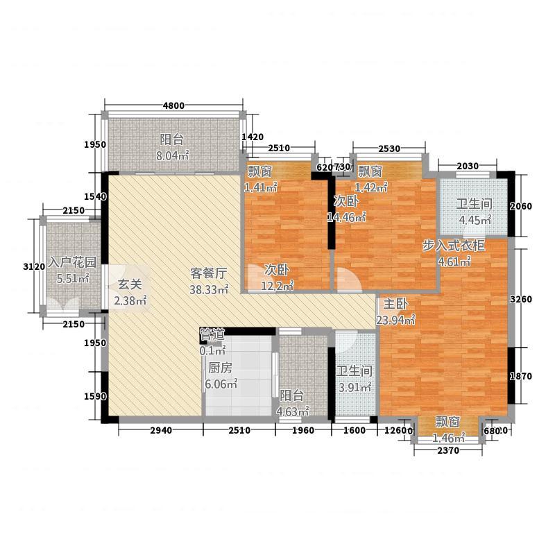 东方华府15.30㎡8栋标准层C3户型3室2厅2卫1厨