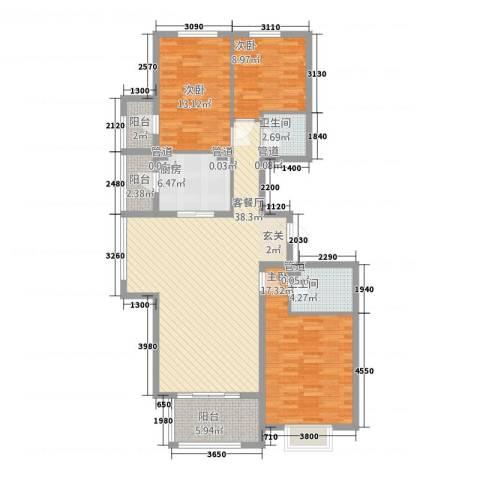 亚太国际公馆3室1厅2卫1厨145.00㎡户型图