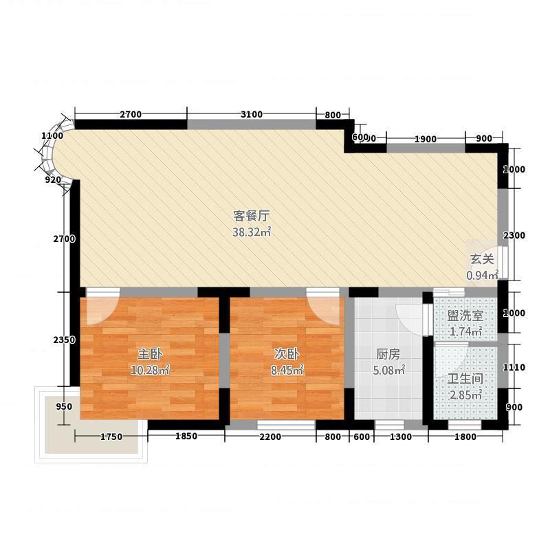 龙腾大厦7.00㎡B户型2室2厅2卫1厨