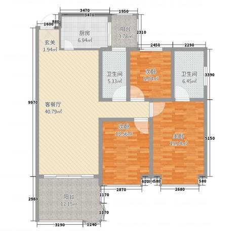 丽景花城3室1厅2卫1厨132.00㎡户型图