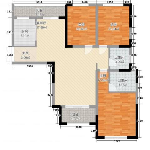 万景城3室1厅2卫1厨145.00㎡户型图