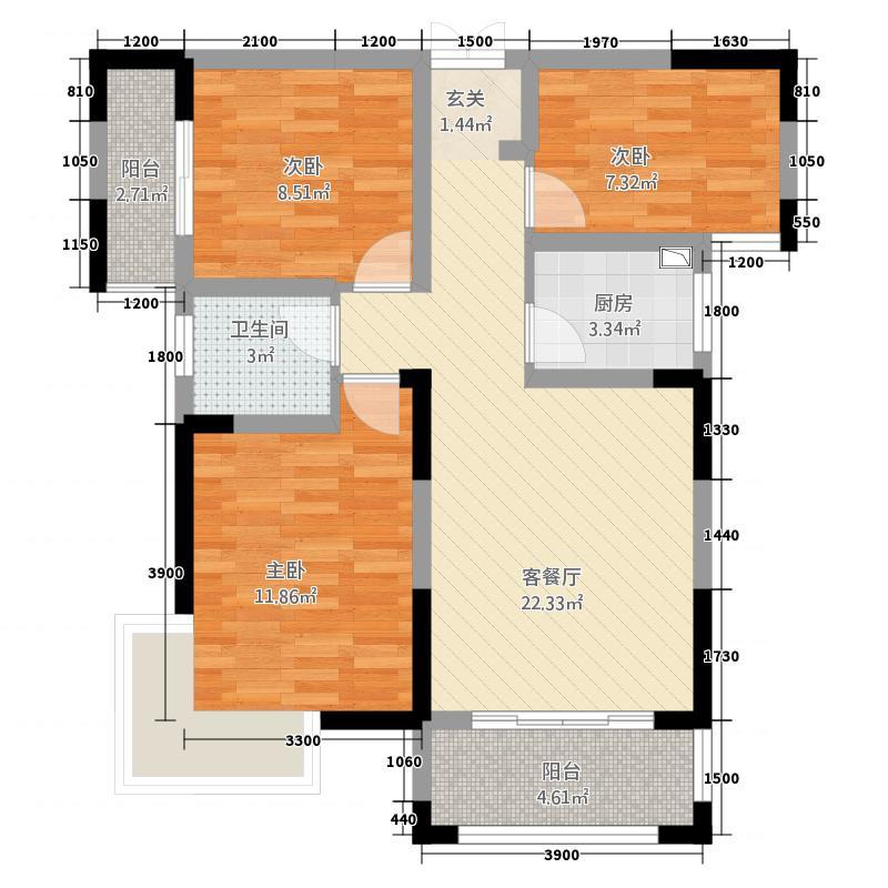 雅士林欣城8.77㎡户型3室2厅2卫1厨
