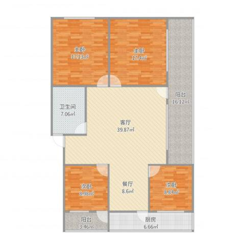 洪楼西路单位宿舍4室1厅1卫1厨134.25㎡户型图