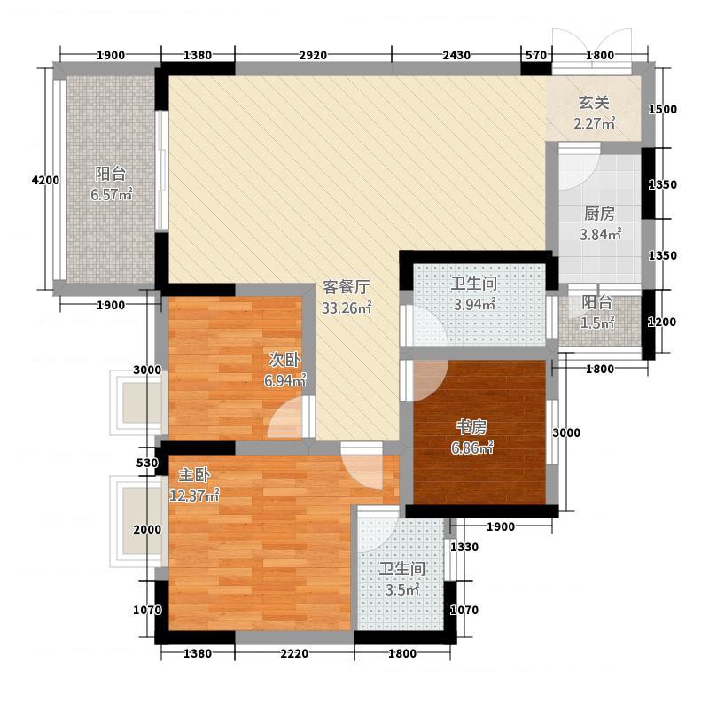 五丰・晶城公馆16.30㎡C户型3室2厅2卫1厨